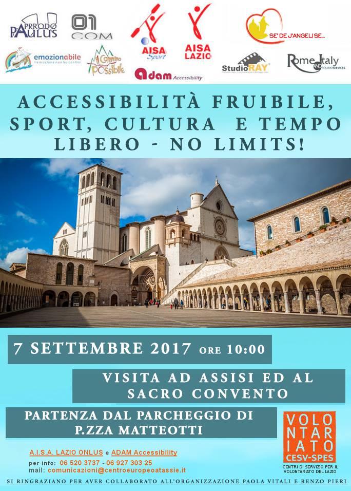 Sacro Convento di San Francesco con in alto la scritta accessibilità fruibile, sport, cultura e tempo libero no limits